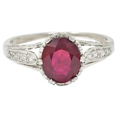 Edwardian 2.44 CTW Burma Ruby Diamond Platinum Heart Ring AGL