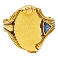 Art Nouveau Sapphire 14 Karat Gold Signet Ring