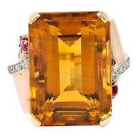 Large Retro Citrine Ruby Diamond 14 Karat Two-Tone Gold Statement Ring