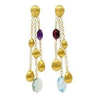 Marco Bicego Multi-Gem 18 Karat Gold Confetti Tassel Drop Earrings