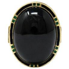 Art Deco Onyx Enamel 14 Karat Gold Cabochon Statement Ring