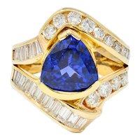 Vintage 4.07 CTW Tanzanite Diamond 14 Karat Gold Statement Ring