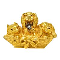 French Victorian Rose Cut Diamond 18 Karat Gold Puppy Brooch