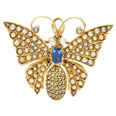 Victorian Natural Freshwater Pearl Sapphire 14 Karat Gold Butterfly Pendant Brooch