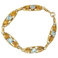 Art Nouveau 7.50 CTW Blue Zircon 14 Karat Gold Leaf Bracelet