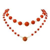 Vintage Coral Cultured Pearl 14 Karat Gold Strand Necklace