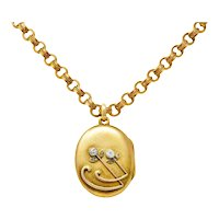 Victorian Diamond 14 Karat Gold Floral Locket Necklace