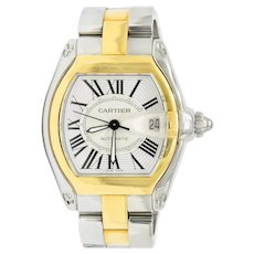 Cartier Roadster Unisex Large Two-Tone 18K Gold Automatic Silver Dial Men's Watch 2510