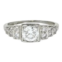Art Deco 0.60 CTW Diamond Platinum Heart Engagement Ring Circa 1930