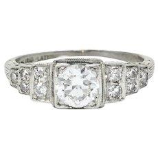 Art Deco 0.60 CTW Diamond Platinum Heart Engagement Ring Circa 1930
