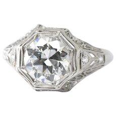 1.94 Carat Exquisite Art Deco Platinum Diamond Engagement Filigree 1930's Ring GIA