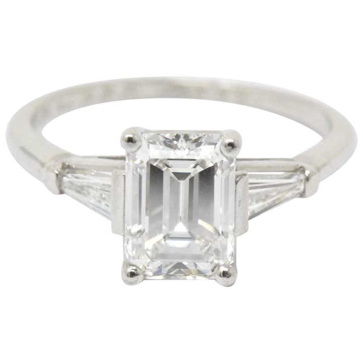 1950 S Bailey Banks And Biddle 1 93ctw Emerald Cut Diamond Platinum Wilson S Estate Jewelry Ruby Lane