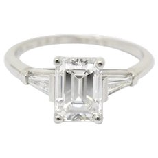 Bailey Banks and Biddle Platinum 1.93 Carat Emerald Cut Diamond Engagement Ring GIA