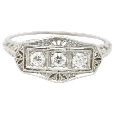 Tiffany & Co. Art Deco Platinum 3 old European Diamond Panel Alternative Engagement Ring