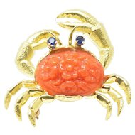 Tiffany & Co. Carved Coral Sapphire 18K Yellow Gold Crab Brooch Pin