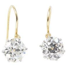 Victorian 5.20 Carat Old Mine Diamond Single Stone Drop Stud Platinum Earrings GIA Certified