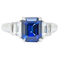 Vintage 4.02 Carat Natural Sapphire Trapezoid Diamond Platinum Ring
