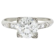1940's 1.54 Transitional & French Cut Diamond Platinum Engagement Ring GIA Certified