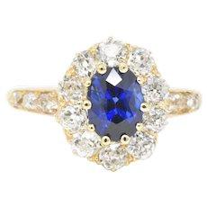 3.16 Carat Victorian 14K Yellow Gold Sapphire Old Mine Diamond Cluster Alternative Engagement Ring