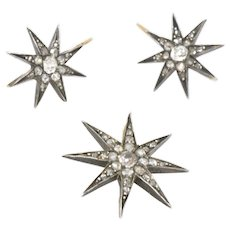 Victorian Starburst Pendant and Earrings Suite Set 14K / Silver