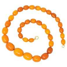 FINE Vintage Natural BALTIC Butterscotch Amber Bead Necklace 26.3 Grams