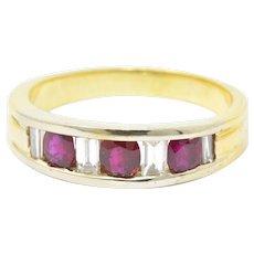 Men's SADEIS Ruby Diamond  18K White & Yellow Gold Ring Size 11.5