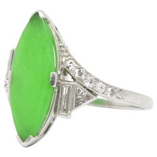 Art Deco Platinum Natural Jade Navette Diamond Ring