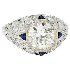 Art Deco 2.06 CTW Diamond Sapphire Platinum Engagement Ring GIA