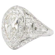 2.41 Carat Belle Epoque Pear Diamond Platinum Cocktail / Alternative Engagement Ring