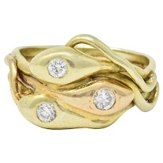 Art Nouveau Old European Diamond 14K Rose & Green Gold Triple Snake Ring