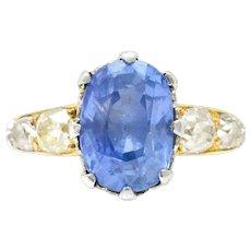 8.66 Carat Cornflower Ceylon Sapphire Mine Cut Diamond Edwardian Platinum 18K Gold Ring