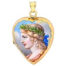 Victorian Enamel Rose Cut Diamond 14 Karat Gold Mourning Locket
