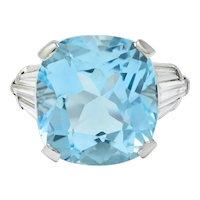 1950's Mid-Century 14.75 CTW Aquamarine Diamond Platinum Statement Ring