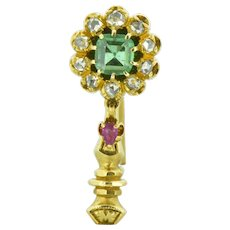 Victorian Halley's Comet Emerald Rose Cut Diamond Ruby 14K Gold Pin