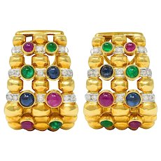Vintage 5.45 CTW Sapphire Ruby Emerald Diamond 18 Karat Gold Earrings