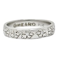 Modern Diamond Platinum Floral Eternity Band Ring