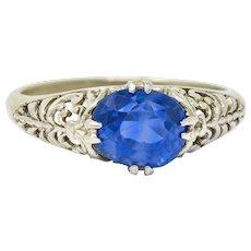 Art Deco 1.90 CTW Sapphire 14 Karat White Gold Scrolled Foliate Ring