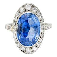 Edwardian 8.69 CTW No Heat Ceylon Sapphire Diamond 18 Karat White Gold Dinner Ring GIA