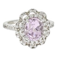 Brilliant Kunzite Diamond 18 Karat White Gold Floral Cluster Ring
