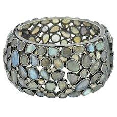 Rose Cut Diamond and Labradorite Sterling Silver 14K Gold Cuff Bracelet