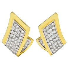 1950's Mid-Century 2.50 CTW Pave Diamond 18 Karat Two-Tone Gold Earrings