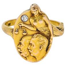 1914 Austro-Hungarian Diamond 14 Karat Gold Blind Justice Franz Ferdinand Unisex Locket Ring