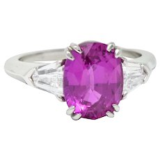 Classic 4.11 CTW Pink Sapphire Diamond Platinum Three Stone Ring AGL