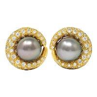 Vintage Tahitian South Sea Pearl 2.25 CTW Diamond 18 Karat Gold Earrings