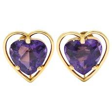Retro Amethyst Heart 14 Karat Gold Screwback Earrings