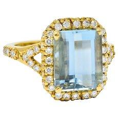 Emerald Cut 5.21 CTW Aquamarine Diamond 18 Karat Gold Halo Ring