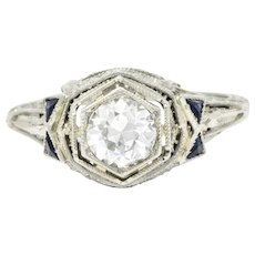 Sensational .65 Carat 18K Art Deco Diamond Sapphire Filigree Ring