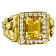 Kieselstein Cord 3.55 CTW Heliodor Golden Beryl Diamond 18 Karat Gold Flower Ring