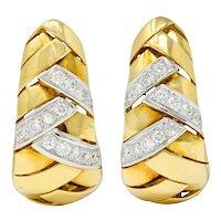 1970's Vintage Italian 2.08 CTW Diamond 18 Karat Two-Tone Gold Woven J Hoop Earrings
