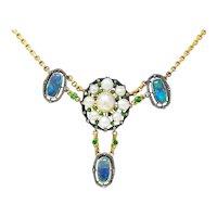 Arts and Crafts Black Opal Demantoid Garnet Pearl Diamond Silver-Topped 14 Karat Gold Swag Necklace